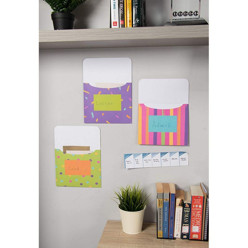 Jumbo Library Pockets - 12-Pack Book Pockets, Library Card Holders for Bulletin Boards, Classroom Organization, Student Paper Storage Holders, 6 Colorful Geometric Designs, 7.5 x 9 Inches