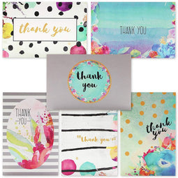 48 Pcs Thank You Cards Bulk Set, Floral Watercolor Blank Note with Envelopes