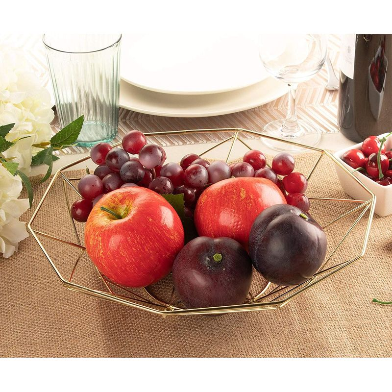 Juvale Kitchen Wire Fruit Basket (2 Piece Set), Metallic Gold