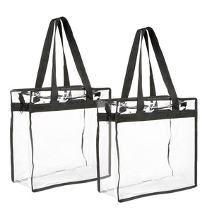 2-Pack Clear Transparent Tote Bag PVC w/Zipper Stadium Approved Should Handbag