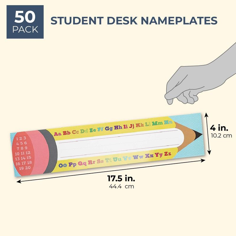 Juvale 50-Pack Student Classroom Name Tags for Desk, Alphabet Numbers Pencil Design, 17.5 x 4 Inches