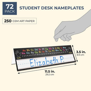 Juvale 72-Pack Student Classroom Desk Tent Name Plates, Alphabet Design, 11.5 x 7 Inches