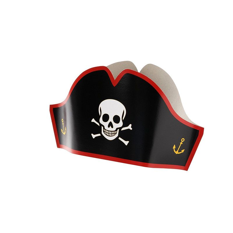 Juvale Cardboard Pirate Hats - Adjustable Party Hats for Halloween Pretend Play Party Favors - 24 Count