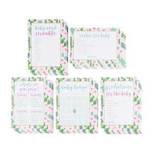 Baby Shower Game Card Packs - 5-Set Assorted Party Activity Supplies for 50 Guests, Including Bingo, Word Scramble, and Well Wishes, Boho Cactus and Hearts Design, 50 Sheets, 5 x 7 Inches