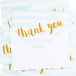Juvale 12 Pcs Thank You Cards Bulk Set, Blank Inside with Envelopes Included