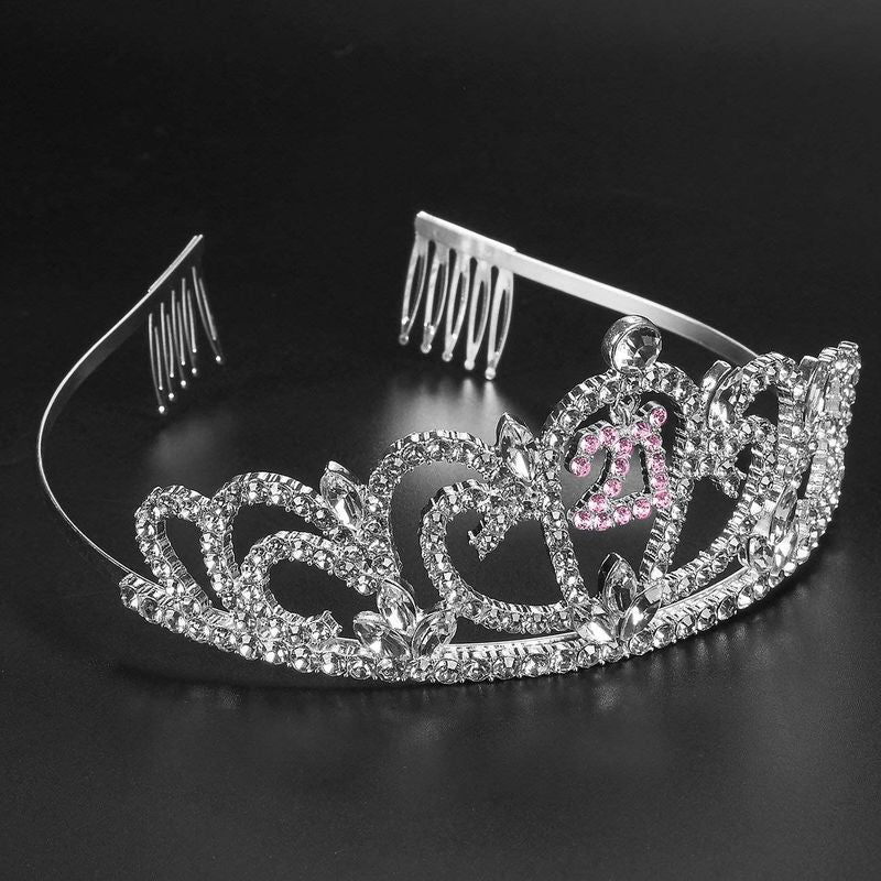 "2-Piece Set of Birthday Girl Tiara and Birthday Sash - Rhinestone Crown with ""Finally 21!"" Polyester Sash Decoration for 21st Birthday Celebrations, Pink"