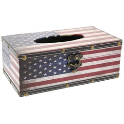 Juvale American Flag Wood Tissue Box Standard Square Holder for Bedroom Bathroom