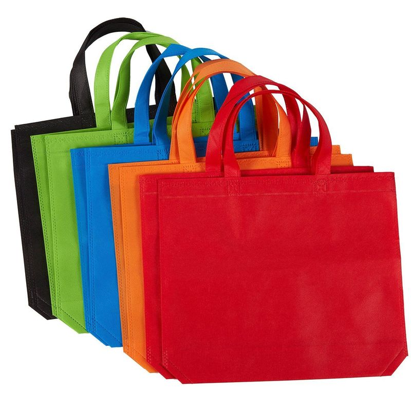 Reusable Grocery Bags – 10 Pack Non-woven Fabric Shopping Bag with Handle, Large Party Favor Gift Tote Bags, Rainbow Goodie Treat Bags - 5 Colors, 14.86 x 12.5 Inches