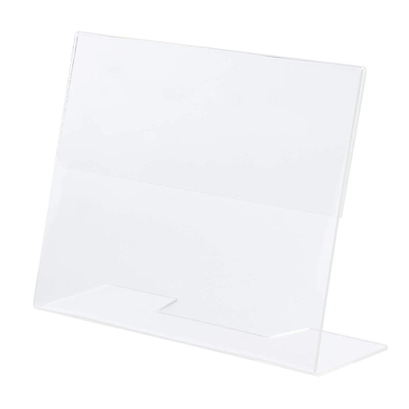 Slanted Sign Holder - 6-Pack 5 x 7 Inches Clear Plastic Desktop Picture Frame, Acrylic Ad Frame, Horizontal Slant Back Menu Holder, for Photos, Brochures, Restaurants, Cafes, Bars, Exhibition Booths