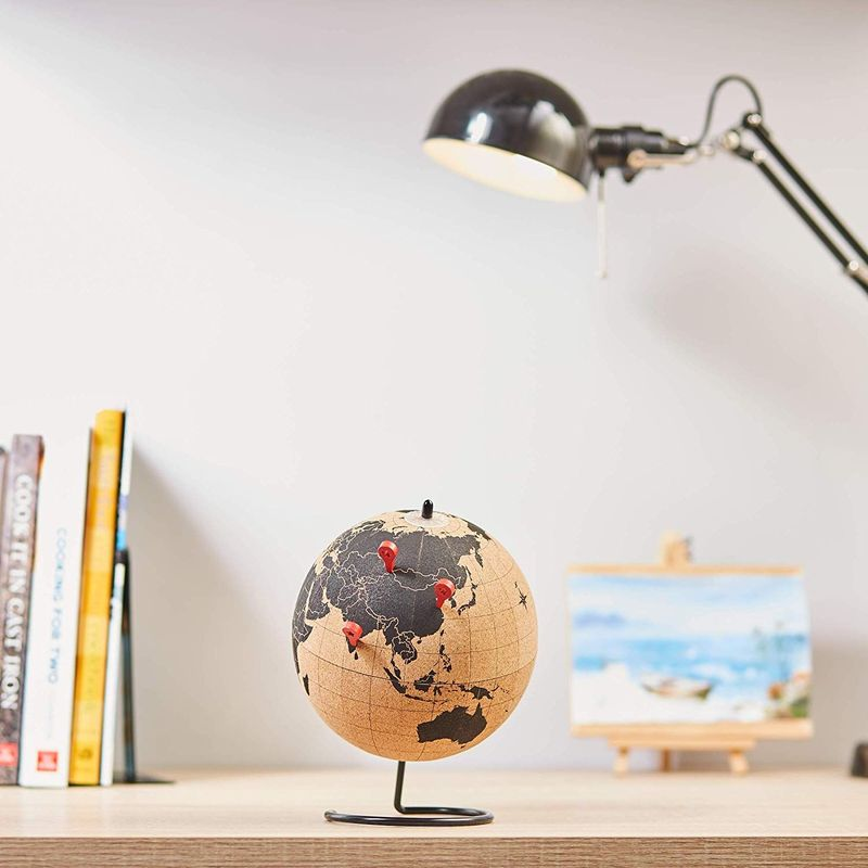 Cork Globe - 6-Inch World Globe with 10 Red Location Push Pins, Spinning Rotating Desk Globe for Kids, Travelers, Home, Office Desktop Decoration, Library, School, Classroom Decor, 7.5 Inches Tall
