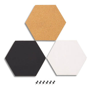 Juvale 3-Pack Cork Bulletin Boards - Hexagonal Decorative Tiles in 3 Includes 6 Push Pins - Perfect Pinning Reminders in Your Kitchen, Office Classroom, 7.8 x 7.8 x 0.2 inches