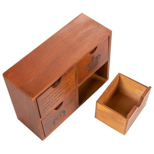 4 Drawer Wooden Storage Organizer - Small Desktop Decorative Cabinet Boxes for Craft, Vintage Jewelry Organizer - Chic French and Crown Design - Brown, 10.25 x 3.8 x 7.75 inches