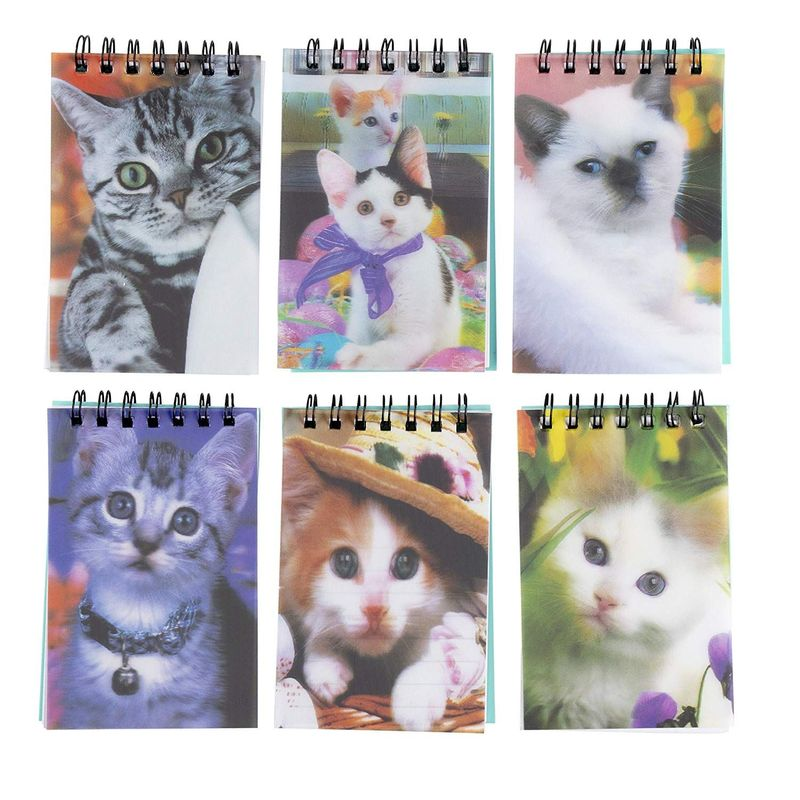 Juvale Cute Cat Mini Notebook, Spiral Notepad, Kitten Party Supplies (55 Sheets, 24 Pack)