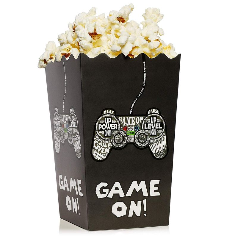 Juvale Set of 100 Mini 5x3 Inch Popcorn Favor Boxes - Video Game Party Supplies Candy Snack Containers for Birthdays and Parties, 3.3 x 5.5 Inches