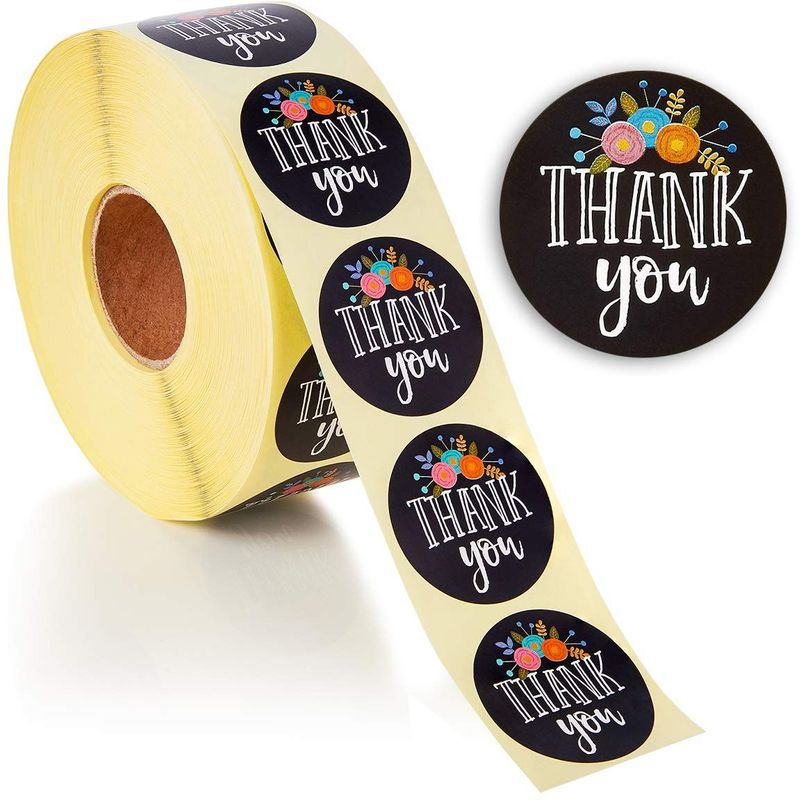 Juvale Thank You Stickers 500 Roll, Floral, 1.5 Inch