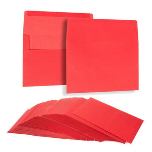 Red Invitation Envelopes for Greeting Cards (5.25 x 7.25 In, 100 Pack)