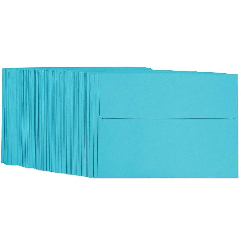 100 Pack Blue Colored A7 Envelopes in Bulk for 5x7 Greeting Cards and Invitation