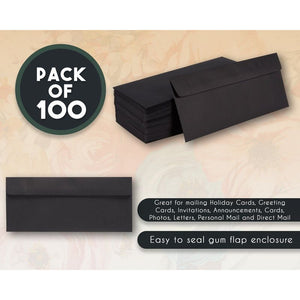 100-Pack #10 Square Flap Business Envelopes 110gsm paper, Black 4 1/8 x 9 1/2 in