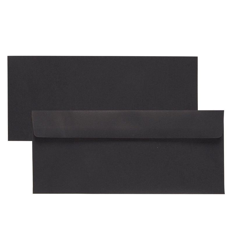 100 Pack #10 Business Letter Envelopes in Bulk for Mailing, 4 1/8 x 9 1/2 Inches, Black