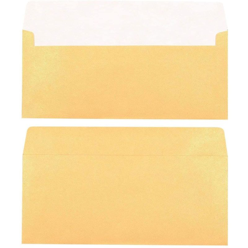 50-Pack #10 Square Flap Business Envelopes 110gsm paper, Gold 4 1/8 x 9 1/2 in