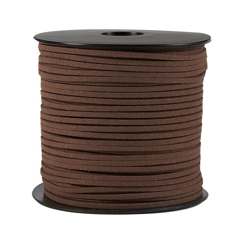 Faux Leather Cord - 100-Yard Suede Leather Strap Beading Cord, Flat Leather Lace Spool, Brown, 0.08 Inches Wide