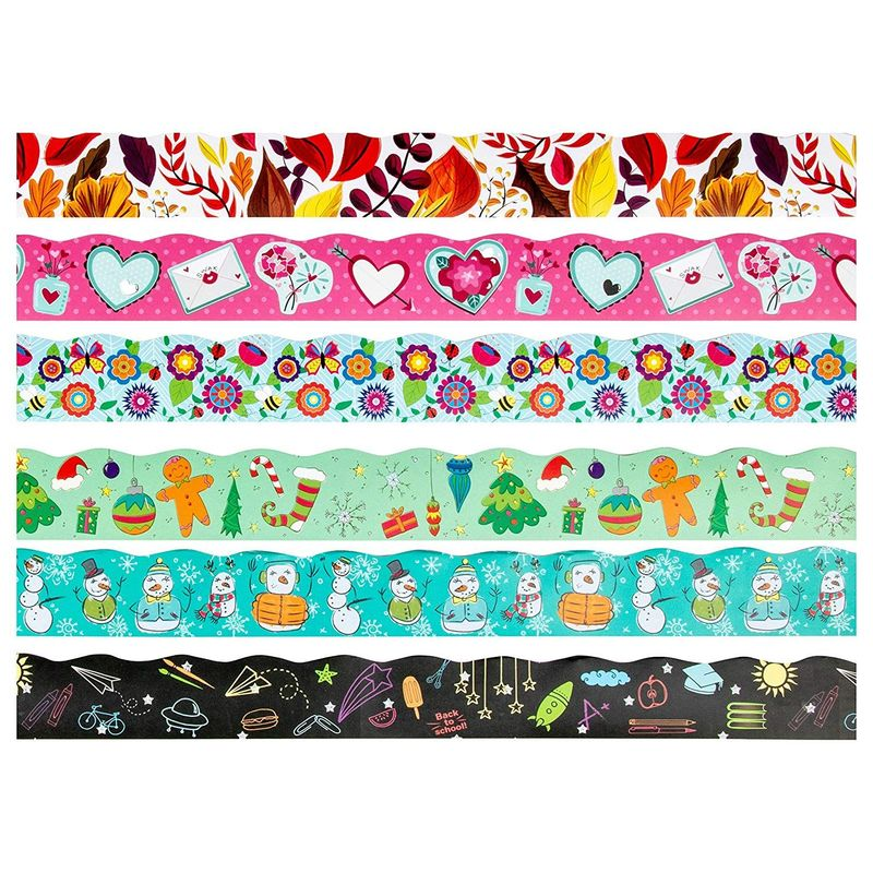 Bulletin Borders - 6-Pack Bulletin Board Borders, Seasonal Decorative Trimmers, Whimsical Border Trim for Classroom, School, 2.25 x 36 inches