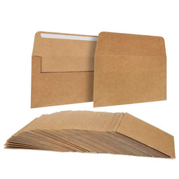 "100-Pack Classic Self Seal A6 Kraft Envelopes for 4""x6"" Cards Invitations Photos"