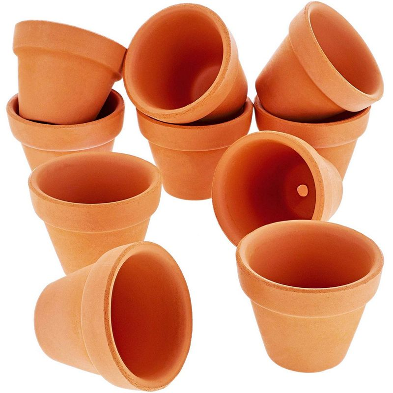 Juvale 10-Count Mini Terra Cotta Flower Pots - Ceramic Pottery Clay Planters