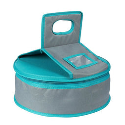 Insulated Round Thermal Casserole Food Carrier for Lunch, Lasagna, Potluck, Picnics, Vacations - Teal and Grey