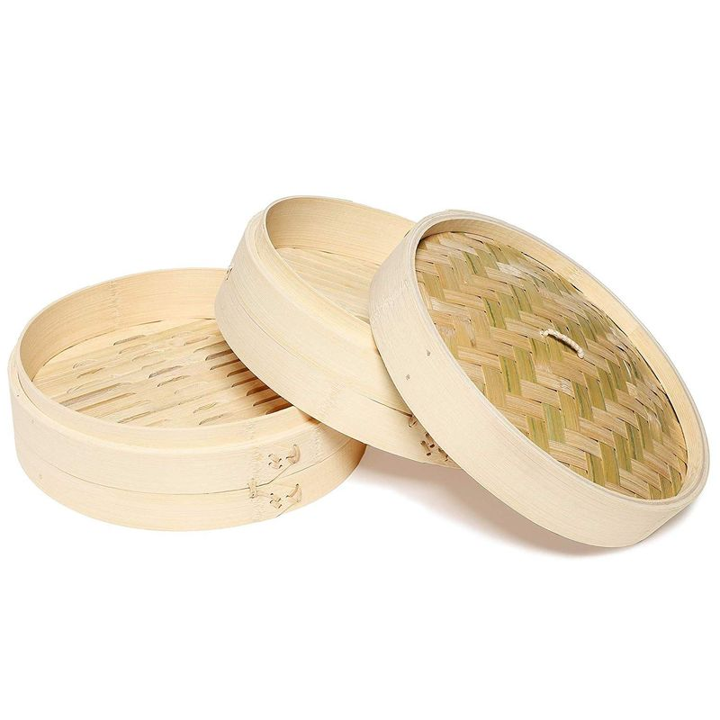 "Juvale 3-Piece Set 10"" Bamboo Steamer Basket for Dim Sum, Buns, and Dumplings"
