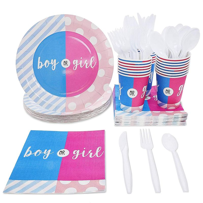 Gender Reveal Party Bundle, Includes Plates, Napkins, Cups and Cutlery (Serves 24, 144 Pieces in Total)