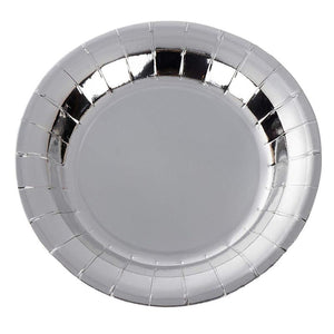 Silver Paper Plates - 48-Pack 7-Inch Round Cake Plates, Silver Foil Disposable Party Plates for Dessert, Appetizer