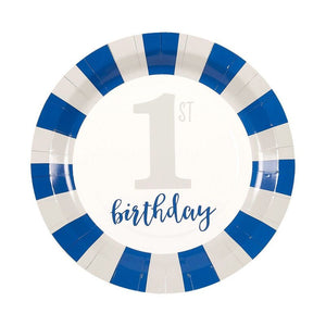 Baby Boys 1st Birthday Party Supplies, Blue Dinnerware Set (Serves 24, 144 Pieces)