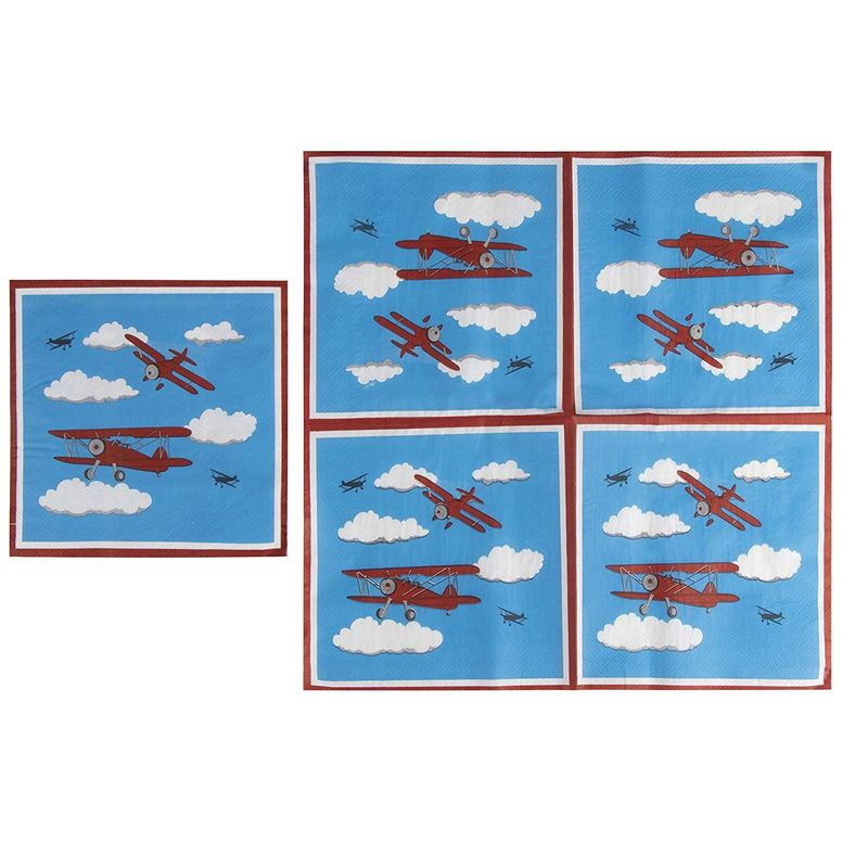 Airplane Party Supplies – Serves 24 – Includes Plates, Knives, Spoons, Forks, Cups and Napkins. Perfect Airplane Party Pack for Kids Airplane Themed Parties.