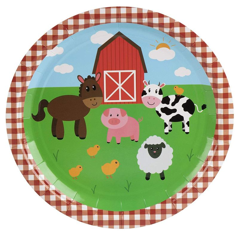 Barnyard Birthday Party Bundle, Includes Plates, Napkins, Cups, and Cutlery (24 Guests,144 Pieces)