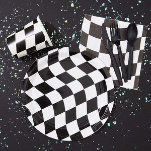 Disposable Dinnerware Set - Serves 24 - Checkered Flag Party Supplies - Race Car Themed Parties, Includes Plastic Knives, Spoons, Forks, Paper Plates, Napkins, Cups