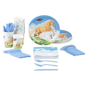 Disposable Dinnerware Set - Serves 24 - Horse Party Supplies for Kids Birthdays, Pony Design, Includes Plastic Knives, Spoons, Forks, Paper Plates, Napkins, Cups