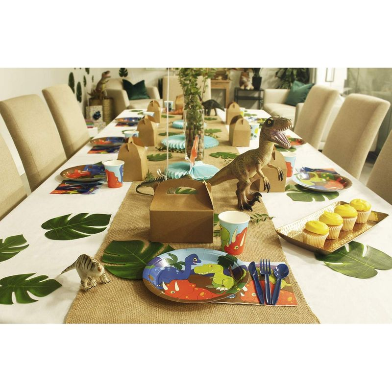 Juvale Dinosaur Disposable Party Supplies Set - Serves 48, Fun Dino Themed Birthday Paper Plates, Napkins, Plastic Utensils, and Cups