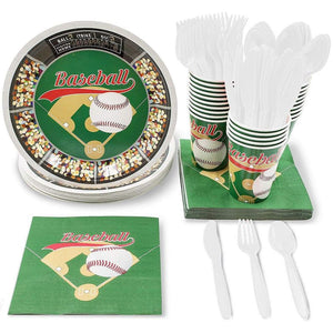 Juvale Baseball Party Supplies for Birthdays and Sports Parties - Plates, Knives, Spoons, Forks, Napkins, and Cups, Serves 24
