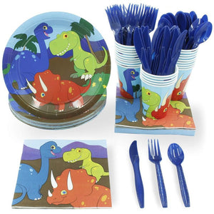 Juvale Dinosaur Party Supplies (Serves 24) Perfect Dinosaur Birthday Party Supplies Including Plates, Knives, Spoons, Forks, Cups and Napkins.