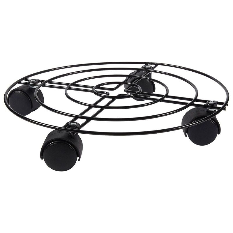 Juvale Metal Plant Caddy - Iron Plant Dolly on Round Rack, Rustproof Flower Pot Stand with Heavy Duty Wheels for Indoor, Outdoor, Home, and Garden in Black