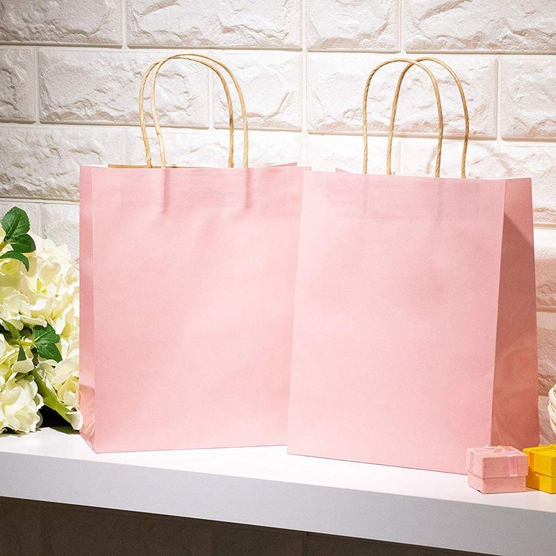 Blush Pink Gift Bags - 15-Pack Glossy Pink Paper Bags with Handle, Wedding Welcome Bags, Medium Sized for Retail, Gifts, Birthday, Bridal Shower Party Favors, 8 x 4 x 10 Inches