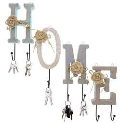 Home Letter Wooden Iron Hooks Wall Mounted Holder For Clothes Coats Keys Decor