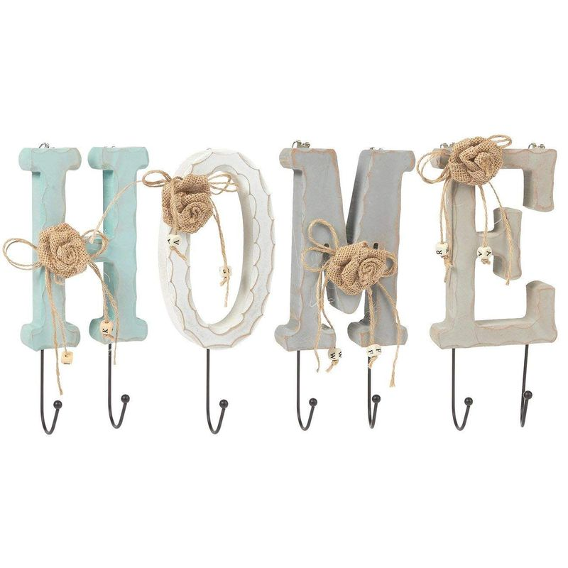 Juvale Wooden Letters Home Key Holder Farmhouse Wall Decor Set with 7 Pegs