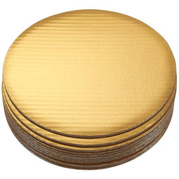 "10"" Round Cake Boards - 12-Pack Cardboard Scalloped Cake Pizza Tart Circle Base Stands - 10 Inches Diameter, Gold Metallic"