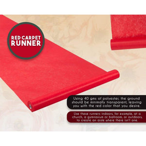 Red Carpet Runner - Aisle Runner - Essential Hollywood and Christmas Party Decoration, Runway Rug, Suitable for Indoor or Outdoor Party Decoration - Red, 3 x 50 Feet (40gsm Thickness)