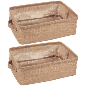 Juvale Collapsible Storage Bin Basket - 2 Pack - Fabric Linen Cloth Storage Basket with Handles - Perfect for Underbed, Magazine, Shelves, Closet, Magazine, Storage | Beige, 12.25 x 9.75 x 4.5 Inches