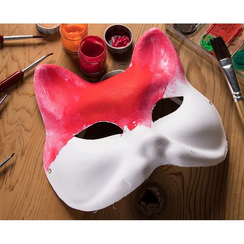 DIY Mask - 12-Pack White Half Face Mask for Halloween Costume Party, Cat Design