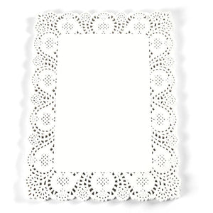 Paper Doilies – 100-Pack Square Lace Placemats for Cakes, Desserts, Baked Treat Display, Ideal for Weddings, Formal Event Decoration, Tableware Decor, White - 15.5 x 11.7 Inches