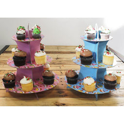 2-Pack Cardboard Cupcake Stand – 3-Tiered Dessert Stand Cupcake Tower – Cupcake Tree Display for Baby Showers, Weddings, Birthdays, Blue and Pink, 11.7 x 13.5 x 11.7 Inches
